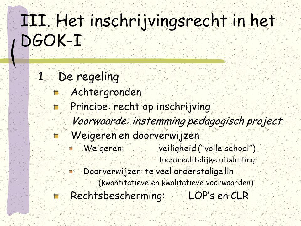 III. Het inschrijvingsrecht in het DGOK-I 1.De regeling Achtergronden Principe: recht op inschrijving Voorwaarde: instemming pedagogisch project Weige
