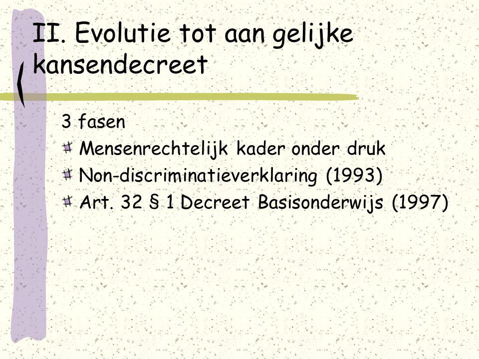 II. Evolutie tot aan gelijke kansendecreet 3 fasen Mensenrechtelijk kader onder druk Non-discriminatieverklaring (1993) Art. 32 § 1 Decreet Basisonder