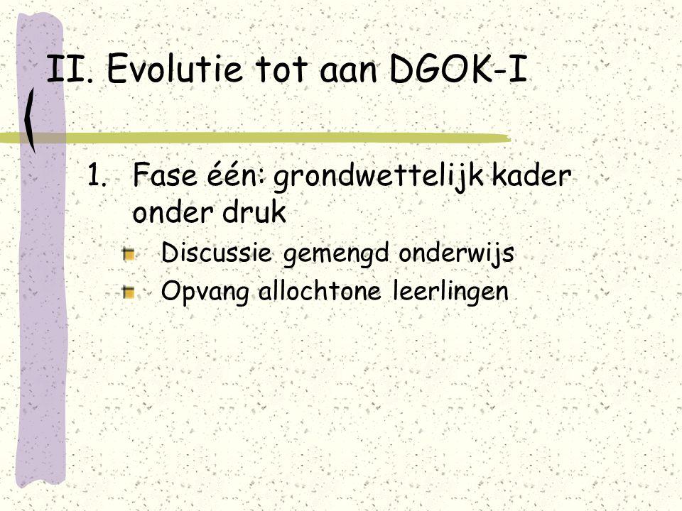 II. Evolutie tot aan DGOK-I 1.Fase één: grondwettelijk kader onder druk Discussie gemengd onderwijs Opvang allochtone leerlingen