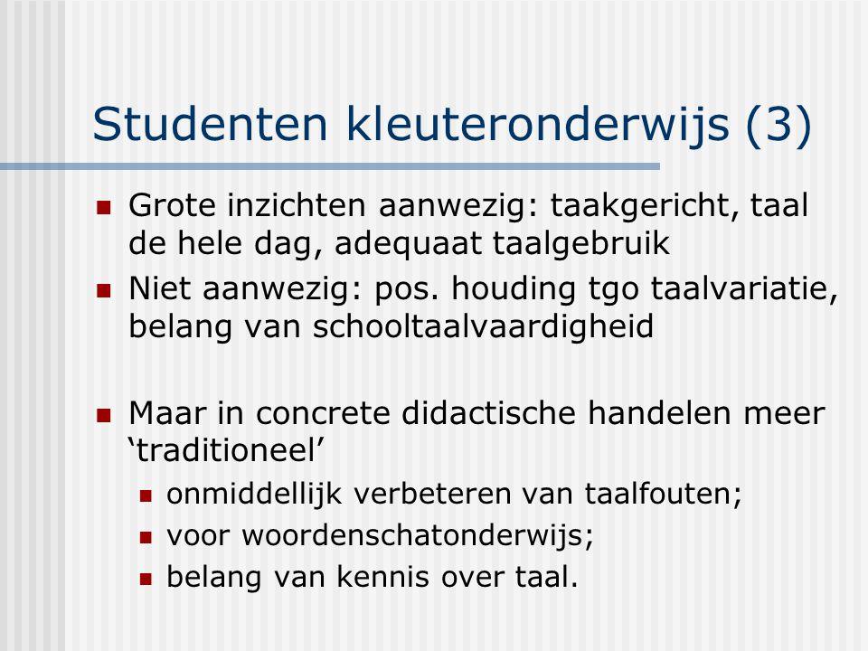 Studenten kleuteronderwijs (3) Grote inzichten aanwezig: taakgericht, taal de hele dag, adequaat taalgebruik Niet aanwezig: pos.