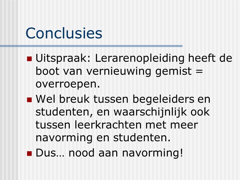 Conclusies Uitspraak: Lerarenopleiding heeft de boot van vernieuwing gemist = overroepen.