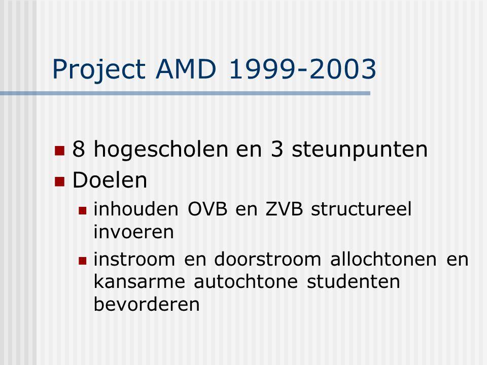 Project AMD 1999-2003 8 hogescholen en 3 steunpunten Doelen inhouden OVB en ZVB structureel invoeren instroom en doorstroom allochtonen en kansarme autochtone studenten bevorderen