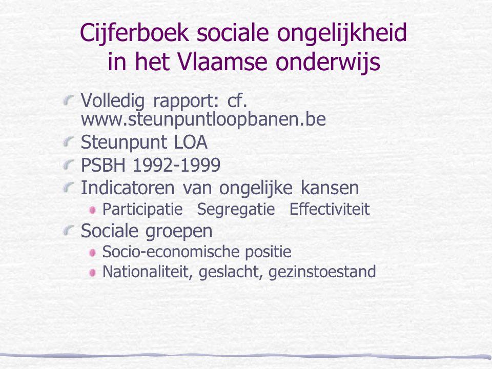 Cijferboek sociale ongelijkheid in het Vlaamse onderwijs Volledig rapport: cf. www.steunpuntloopbanen.be Steunpunt LOA PSBH 1992-1999 Indicatoren van