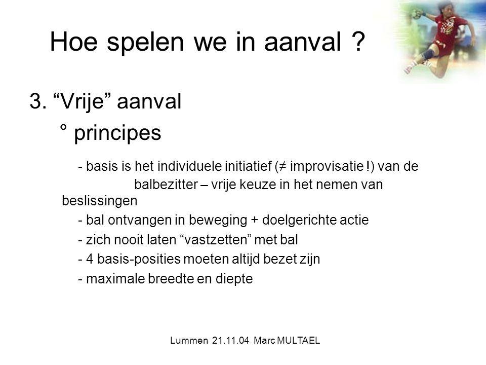 """Lummen 21.11.04 Marc MULTAEL Hoe spelen we in aanval ? 3. """"Vrije"""" aanval ° principes - basis is het individuele initiatief (≠ improvisatie !) van de b"""