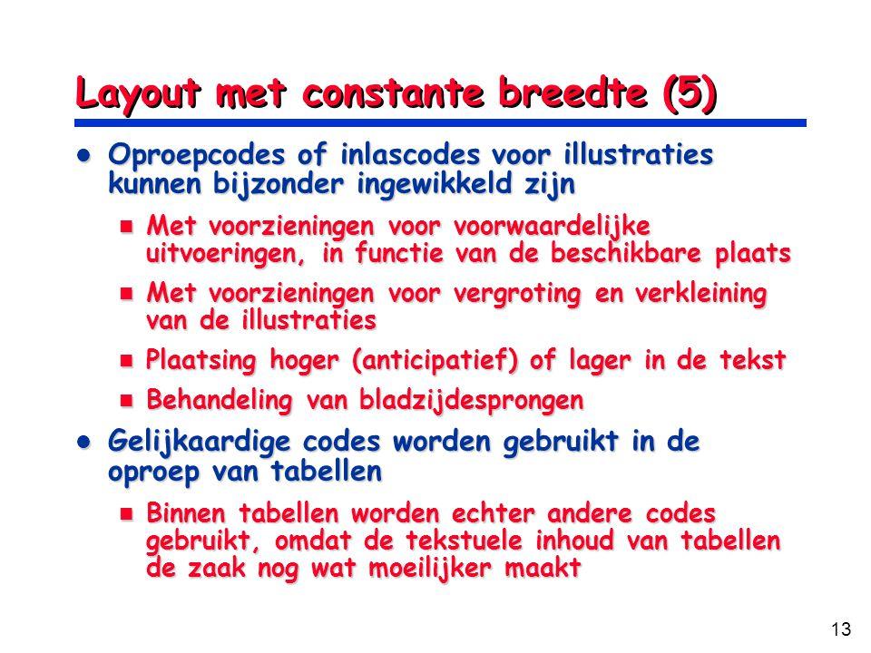 13 Layout met constante breedte (5) Oproepcodes of inlascodes voor illustraties kunnen bijzonder ingewikkeld zijn Oproepcodes of inlascodes voor illus