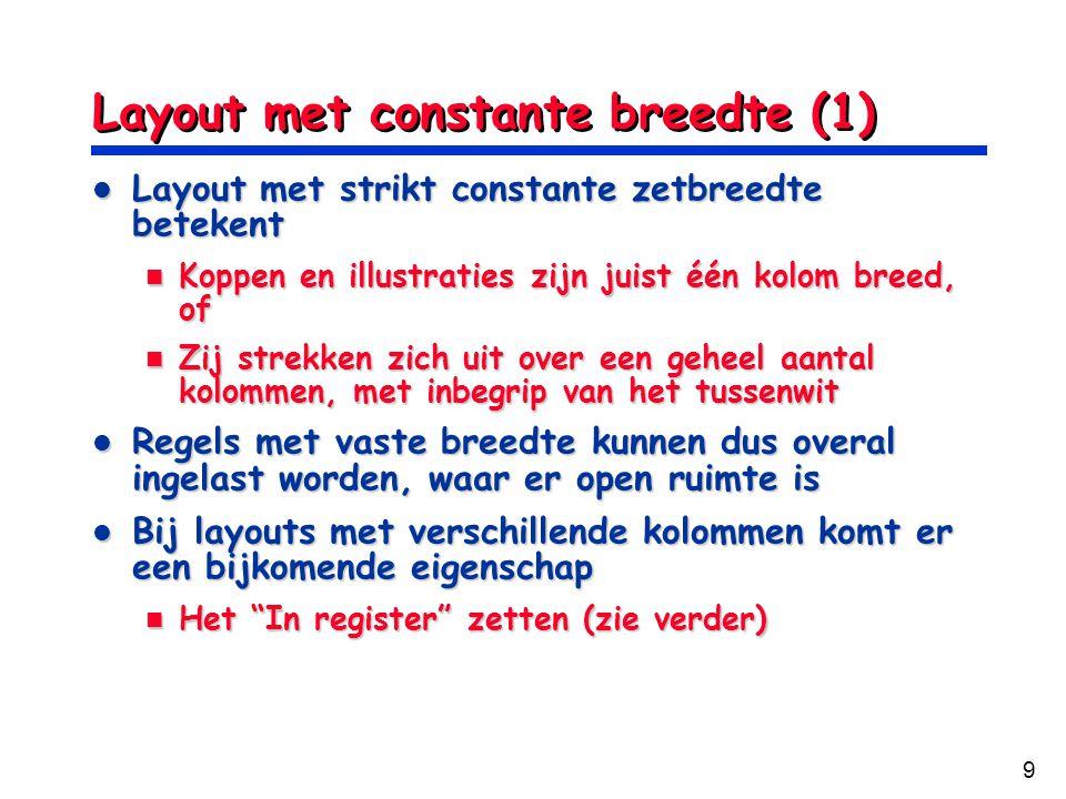 9 Layout met constante breedte (1) Layout met strikt constante zetbreedte betekent Layout met strikt constante zetbreedte betekent Koppen en illustrat
