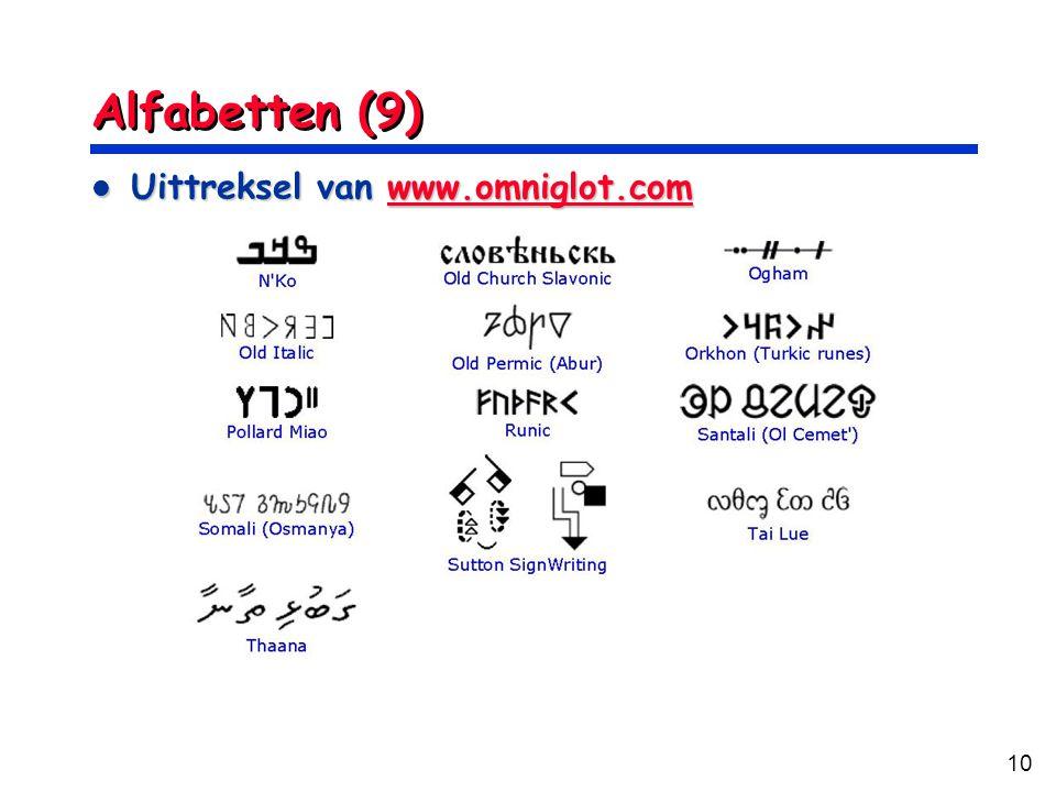 10 Alfabetten (9) Uittreksel van www.omniglot.com Uittreksel van www.omniglot.comwww.omniglot.com