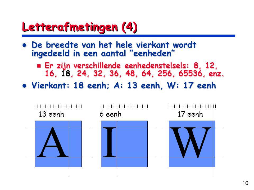 """10 Letterafmetingen (4) De breedte van het hele vierkant wordt ingedeeld in een aantal """"eenheden"""" De breedte van het hele vierkant wordt ingedeeld in"""