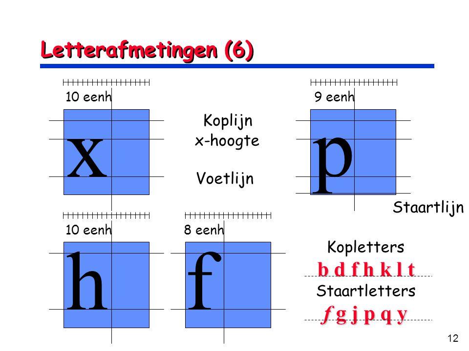 12 Letterafmetingen (6) x p 10 eenh9 eenh hf 10 eenh8 eenh Voetlijn Koplijn x-hoogte Staartlijn Kopletters b d f h k l t Staartletters f g j p q y