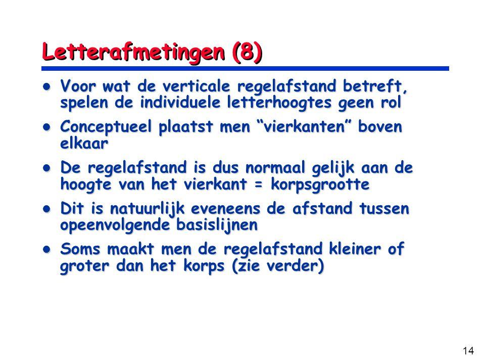 14 Letterafmetingen (8) Voor wat de verticale regelafstand betreft, spelen de individuele letterhoogtes geen rol Voor wat de verticale regelafstand be