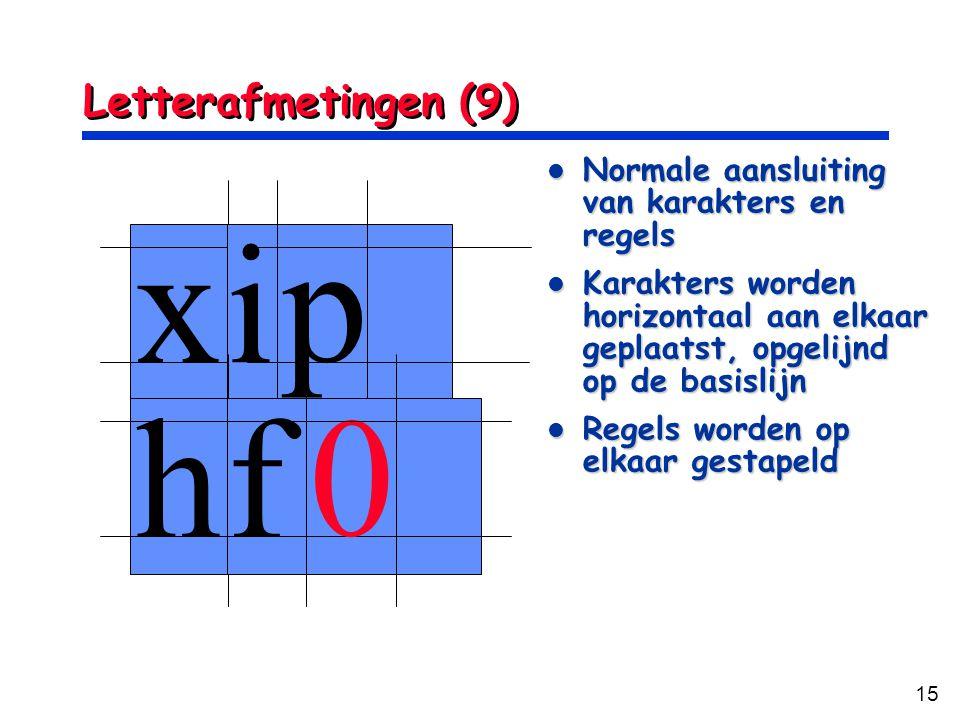 15 Letterafmetingen (9) xi p hf 0 Normale aansluiting van karakters en regels Normale aansluiting van karakters en regels Karakters worden horizontaal
