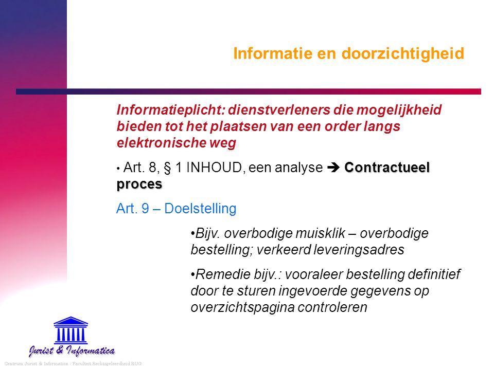 Informatie en doorzichtigheid Informatieplicht: dienstverleners die mogelijkheid bieden tot het plaatsen van een order langs elektronische weg Contrac