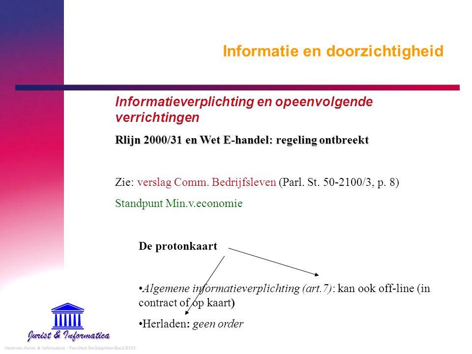 Informatie en doorzichtigheid Informatieverplichting en opeenvolgende verrichtingen Rlijn 2000/31 en Wet E-handel: regeling ontbreekt Zie: verslag Com