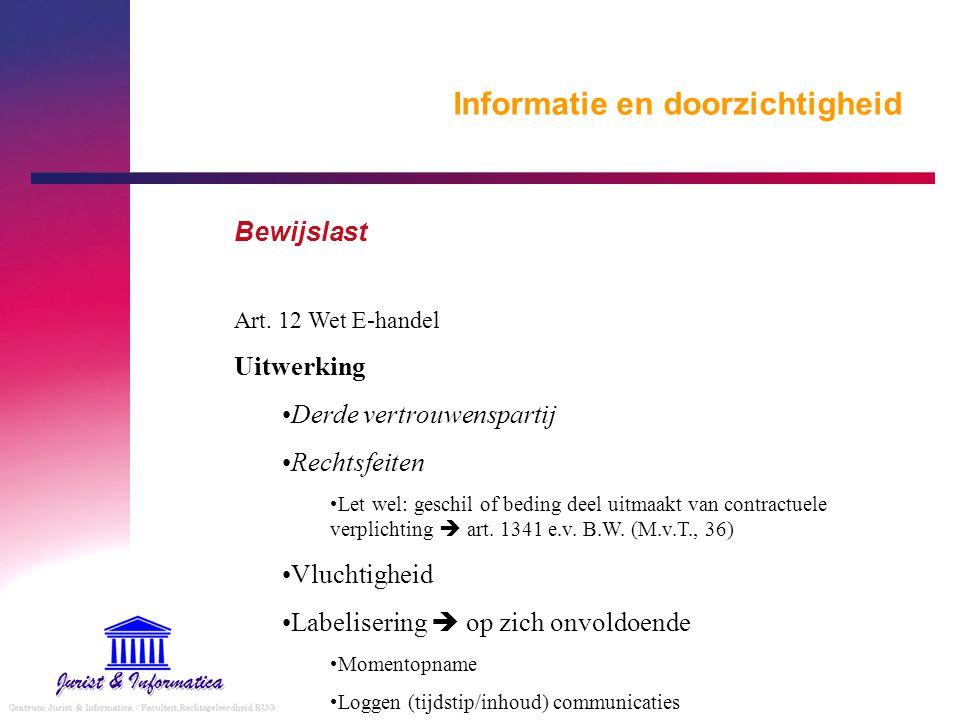 Informatie en doorzichtigheid Bewijslast Art. 12 Wet E-handel Uitwerking Derde vertrouwenspartij Rechtsfeiten Let wel: geschil of beding deel uitmaakt