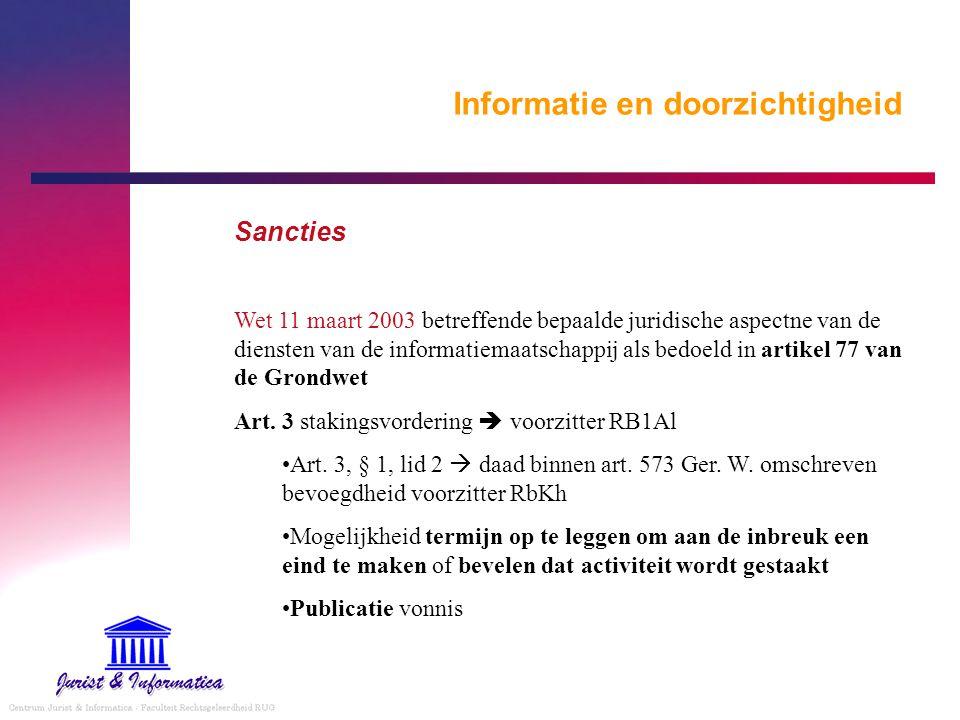Informatie en doorzichtigheid Sancties Wet 11 maart 2003 betreffende bepaalde juridische aspectne van de diensten van de informatiemaatschappij als be
