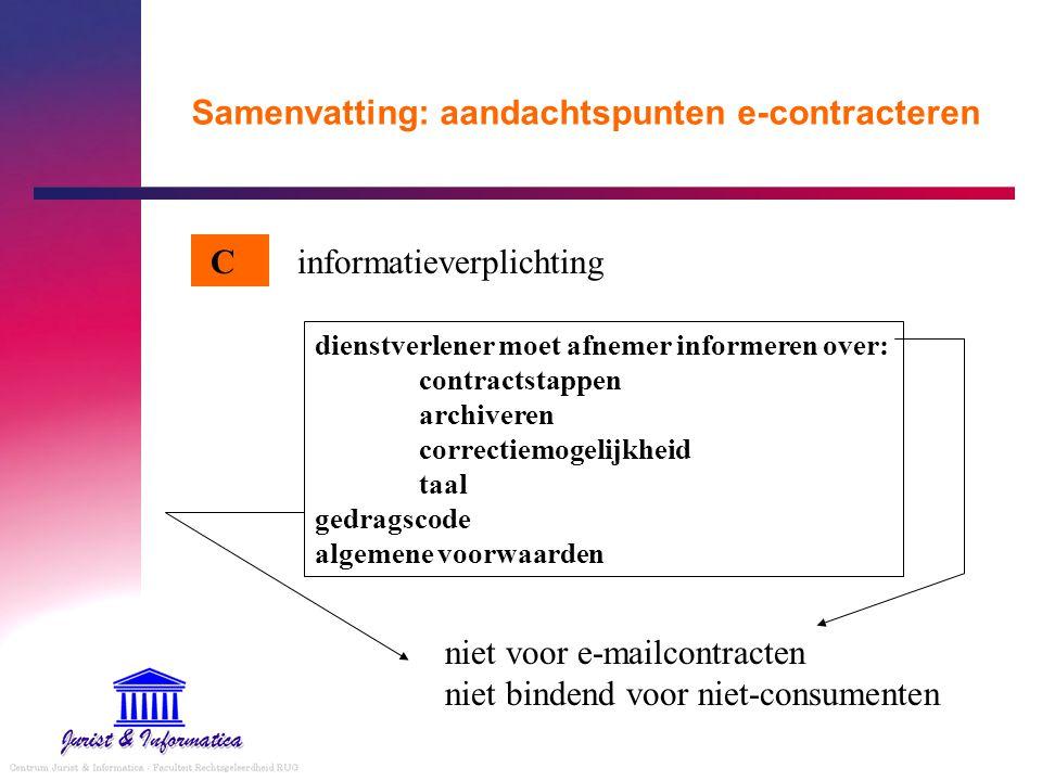 Samenvatting: aandachtspunten e-contracteren informatieverplichting dienstverlener moet afnemer informeren over: contractstappen archiveren correctiem