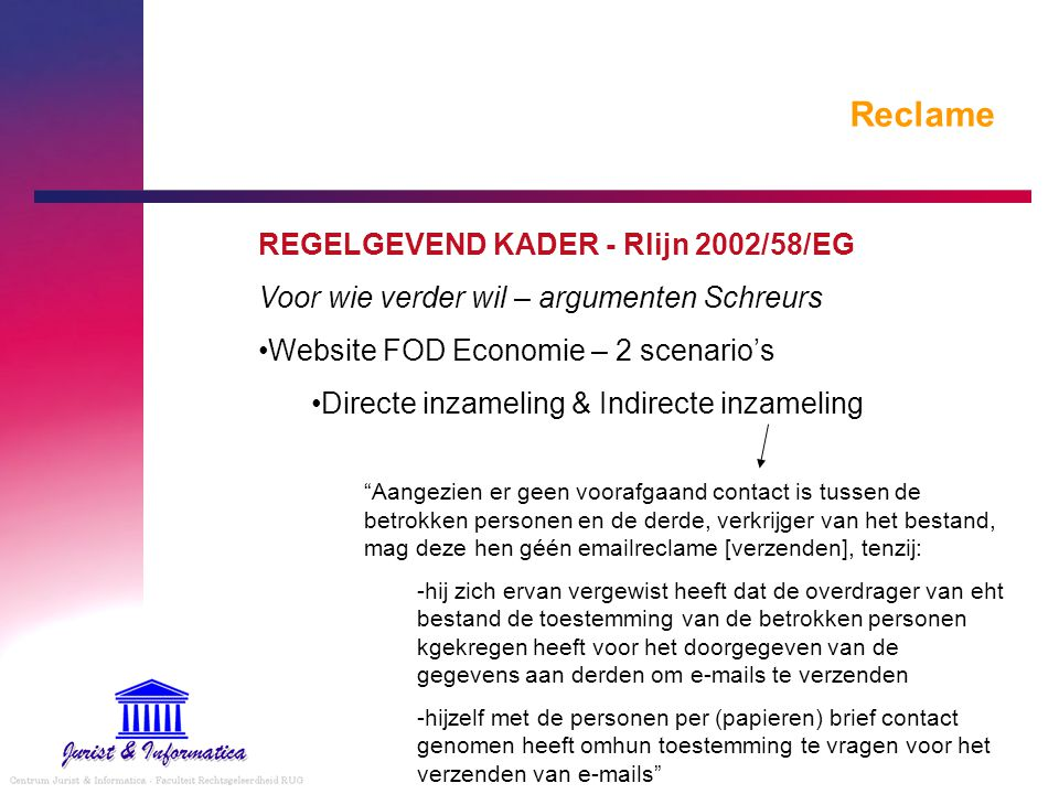 Reclame REGELGEVEND KADER - Rlijn 2002/58/EG Voor wie verder wil – argumenten Schreurs Website FOD Economie – 2 scenario's Directe inzameling & Indire