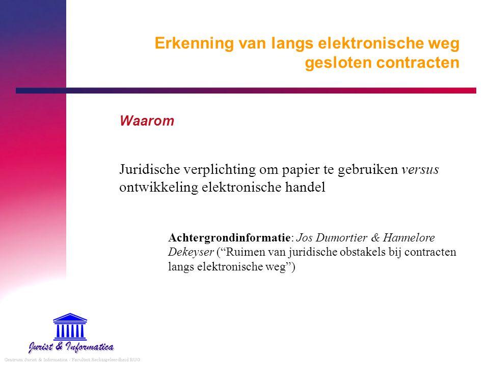 Erkenning van langs elektronische weg gesloten contracten Waarom Juridische verplichting om papier te gebruiken versus ontwikkeling elektronische hand