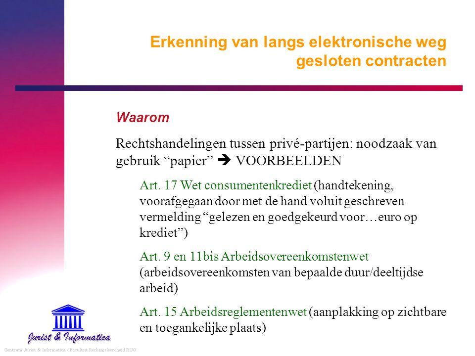"""Erkenning van langs elektronische weg gesloten contracten Waarom Rechtshandelingen tussen privé-partijen: noodzaak van gebruik """"papier""""  VOORBEELDEN"""