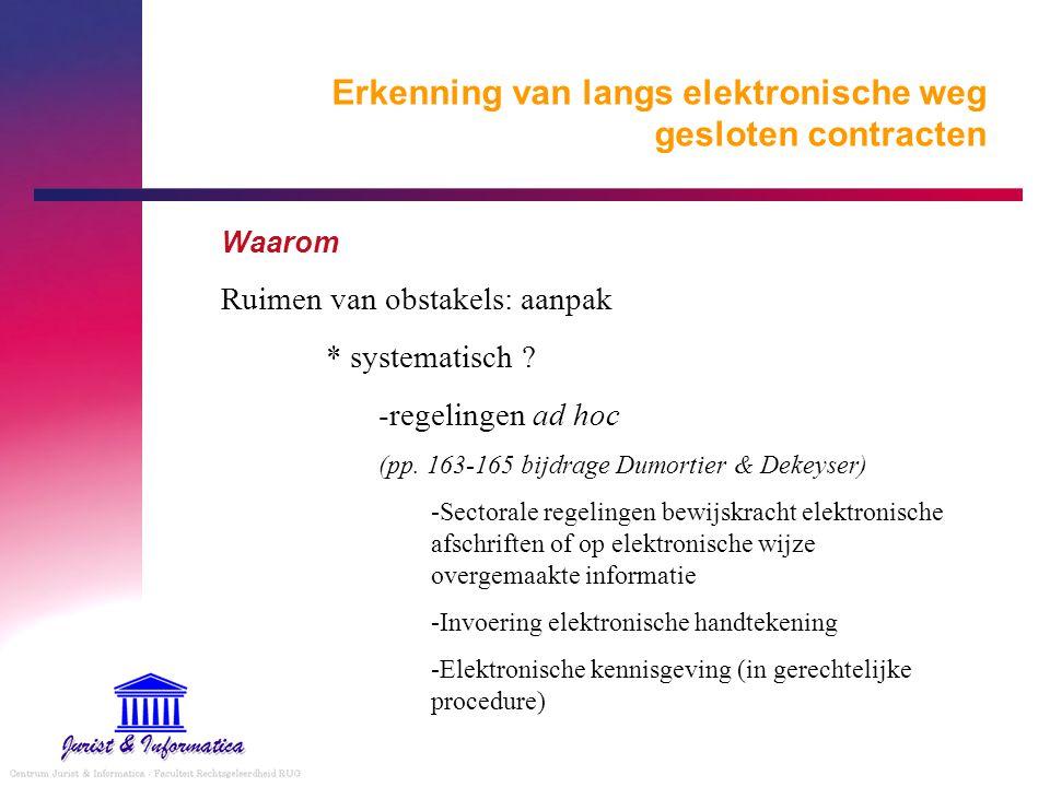 Erkenning van langs elektronische weg gesloten contracten Waarom Ruimen van obstakels: aanpak * systematisch ? -regelingen ad hoc (pp. 163-165 bijdrag