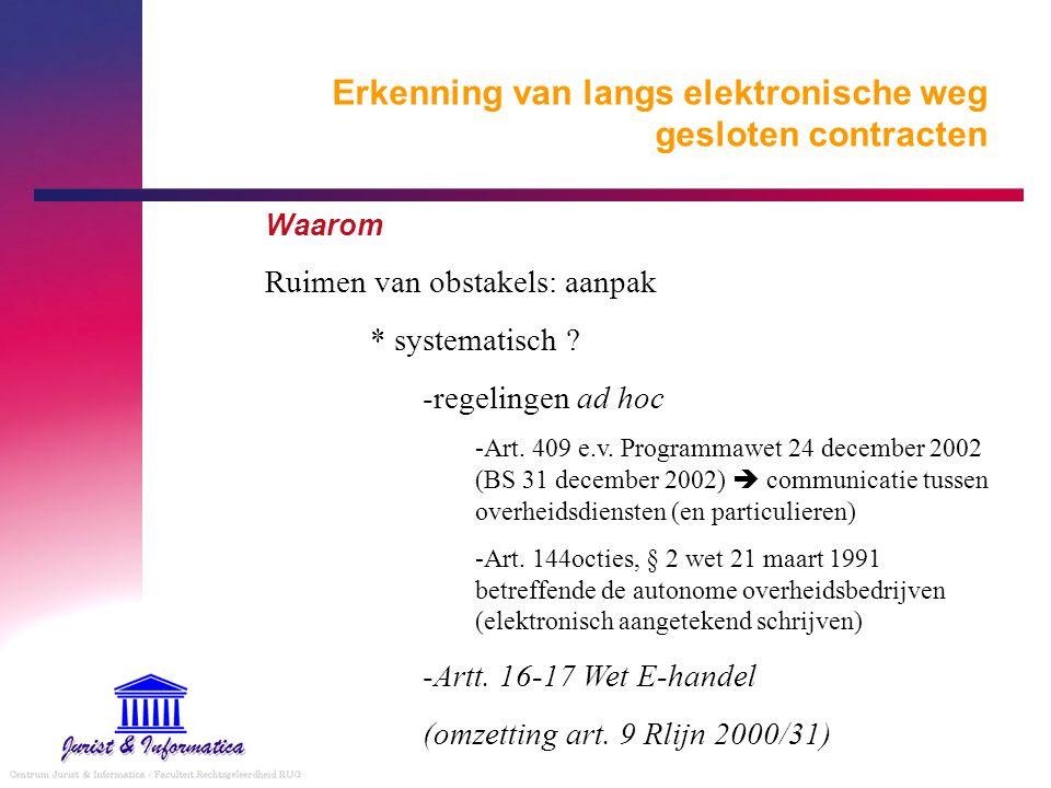 Erkenning van langs elektronische weg gesloten contracten Waarom Ruimen van obstakels: aanpak * systematisch ? -regelingen ad hoc -Art. 409 e.v. Progr