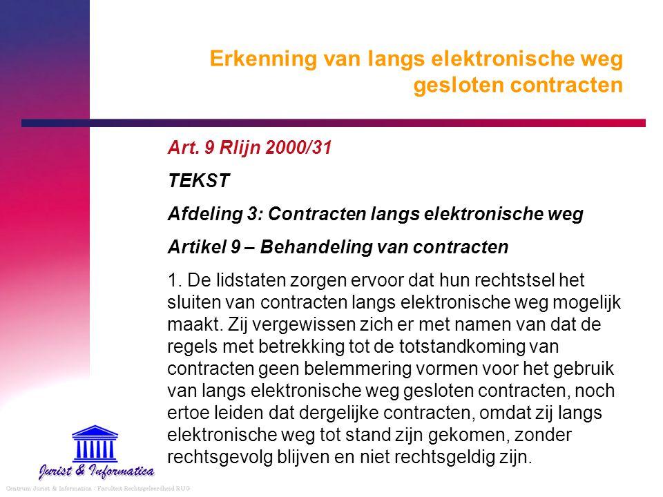 Erkenning van langs elektronische weg gesloten contracten Art. 9 Rlijn 2000/31 TEKST Afdeling 3: Contracten langs elektronische weg Artikel 9 – Behand