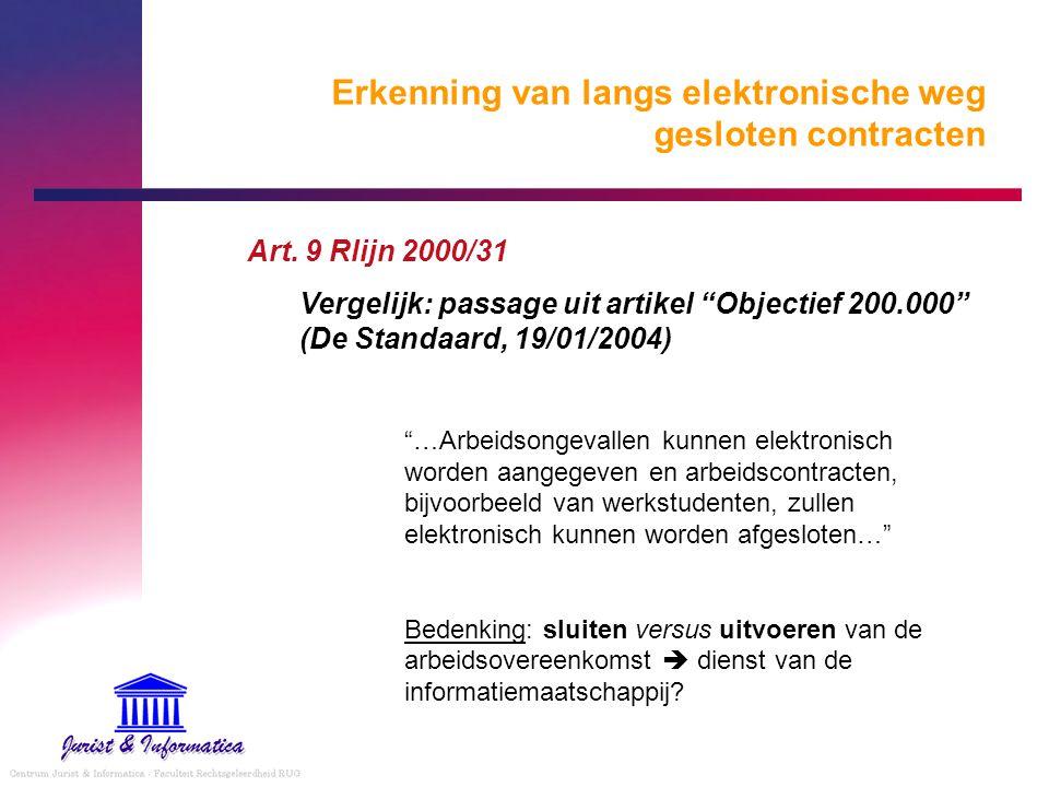 """Erkenning van langs elektronische weg gesloten contracten Art. 9 Rlijn 2000/31 Vergelijk: passage uit artikel """"Objectief 200.000"""" (De Standaard, 19/01"""