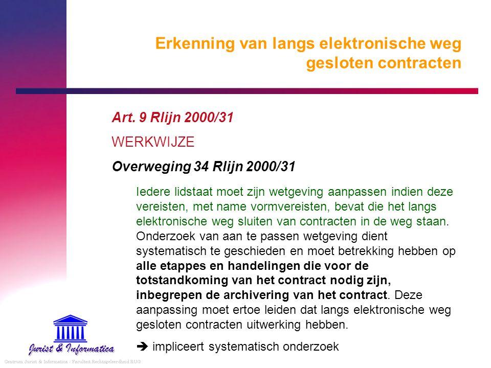 Erkenning van langs elektronische weg gesloten contracten Art. 9 Rlijn 2000/31 WERKWIJZE Overweging 34 Rlijn 2000/31 Iedere lidstaat moet zijn wetgevi