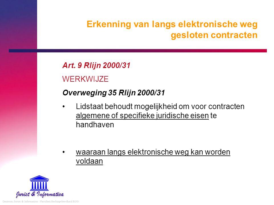 Erkenning van langs elektronische weg gesloten contracten Art. 9 Rlijn 2000/31 WERKWIJZE Overweging 35 Rlijn 2000/31 Lidstaat behoudt mogelijkheid om