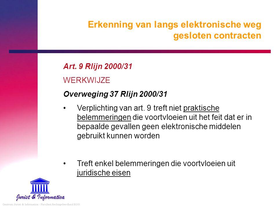 Erkenning van langs elektronische weg gesloten contracten Art. 9 Rlijn 2000/31 WERKWIJZE Overweging 37 Rlijn 2000/31 Verplichting van art. 9 treft nie