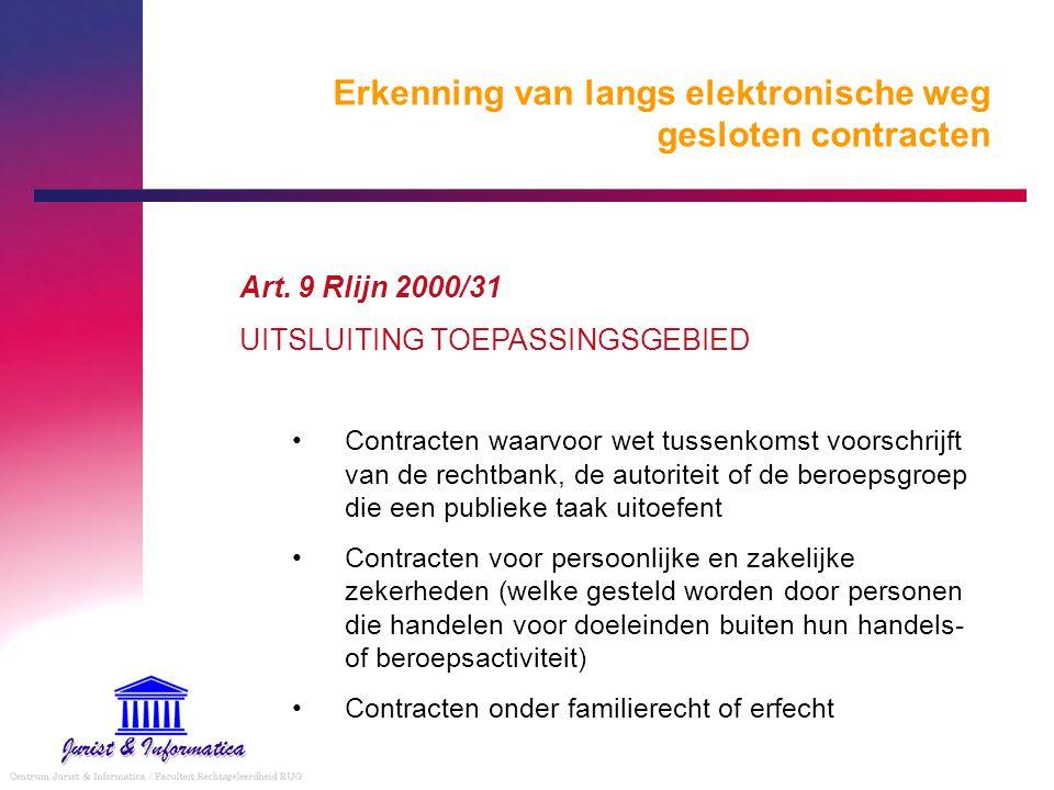 Erkenning van langs elektronische weg gesloten contracten Art. 9 Rlijn 2000/31 UITSLUITING TOEPASSINGSGEBIED Contracten waarvoor wet tussenkomst voors