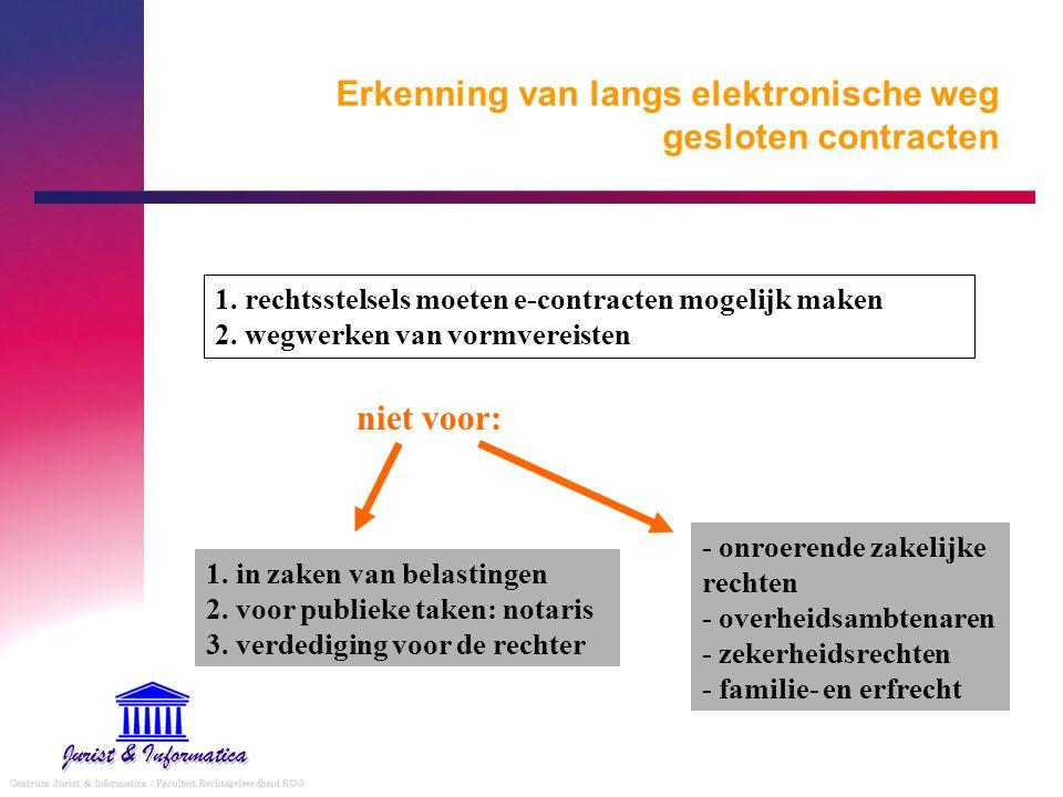 Erkenning van langs elektronische weg gesloten contracten 1. rechtsstelsels moeten e-contracten mogelijk maken 2. wegwerken van vormvereisten 1. in za