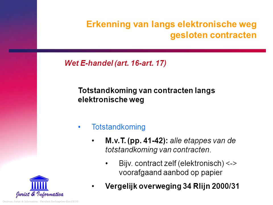 Erkenning van langs elektronische weg gesloten contracten Wet E-handel (art. 16-art. 17) Totstandkoming van contracten langs elektronische weg Totstan