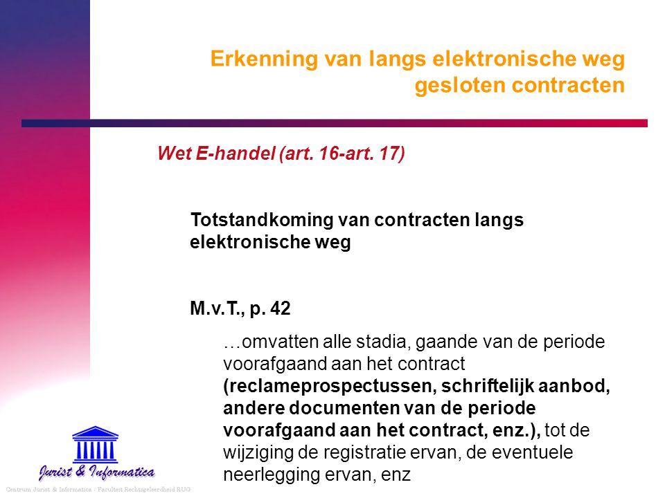 Erkenning van langs elektronische weg gesloten contracten Wet E-handel (art. 16-art. 17) Totstandkoming van contracten langs elektronische weg M.v.T.,