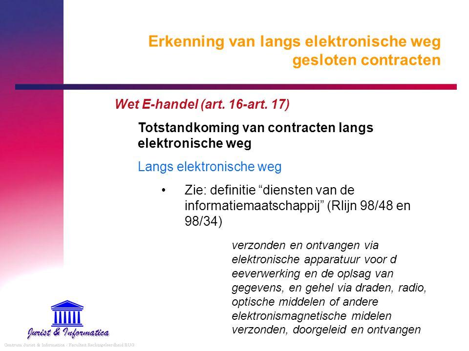 Erkenning van langs elektronische weg gesloten contracten Wet E-handel (art. 16-art. 17) Totstandkoming van contracten langs elektronische weg Langs e