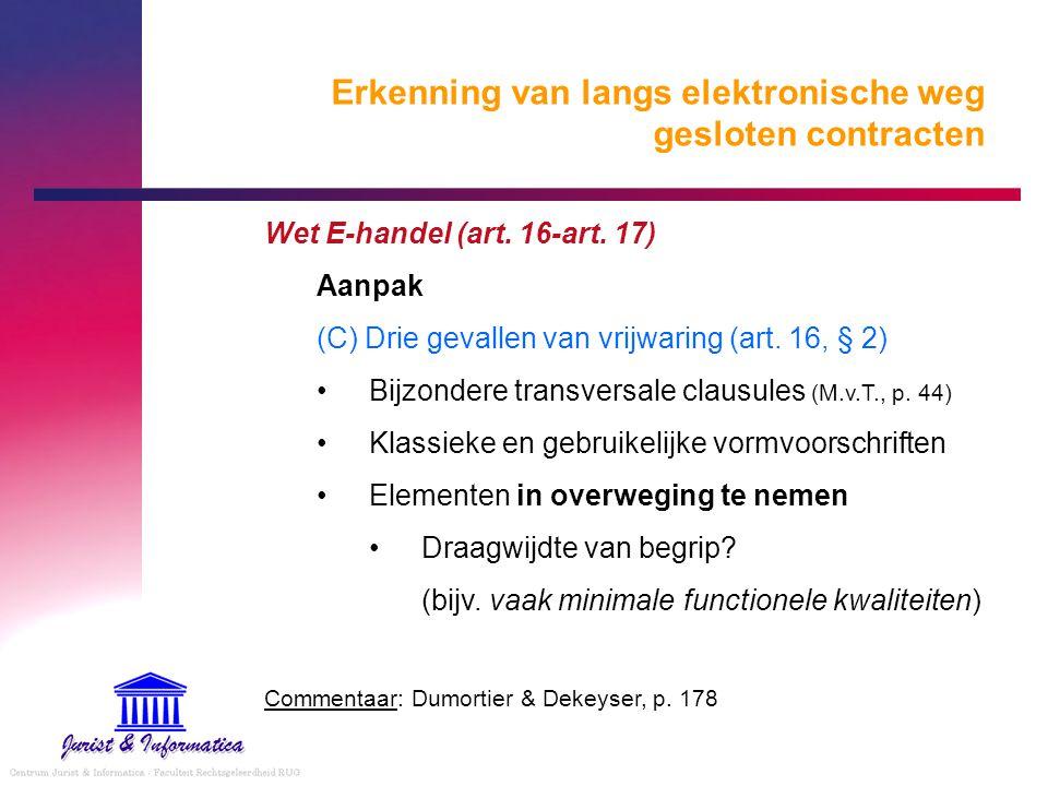 Erkenning van langs elektronische weg gesloten contracten Wet E-handel (art. 16-art. 17) Aanpak (C) Drie gevallen van vrijwaring (art. 16, § 2) Bijzon