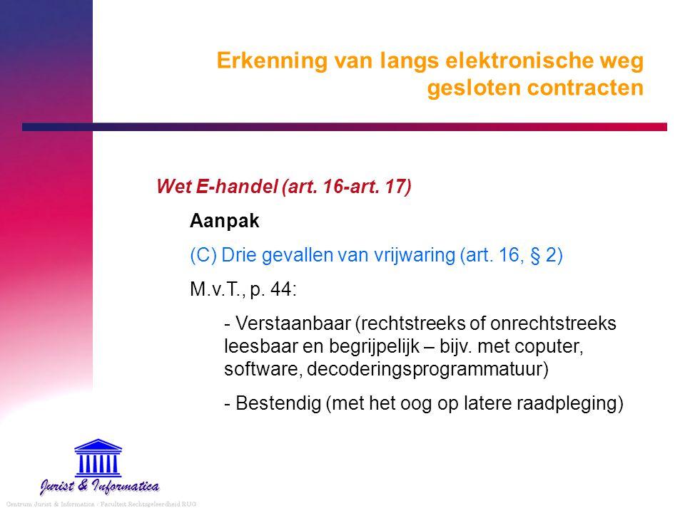 Erkenning van langs elektronische weg gesloten contracten Wet E-handel (art. 16-art. 17) Aanpak (C) Drie gevallen van vrijwaring (art. 16, § 2) M.v.T.