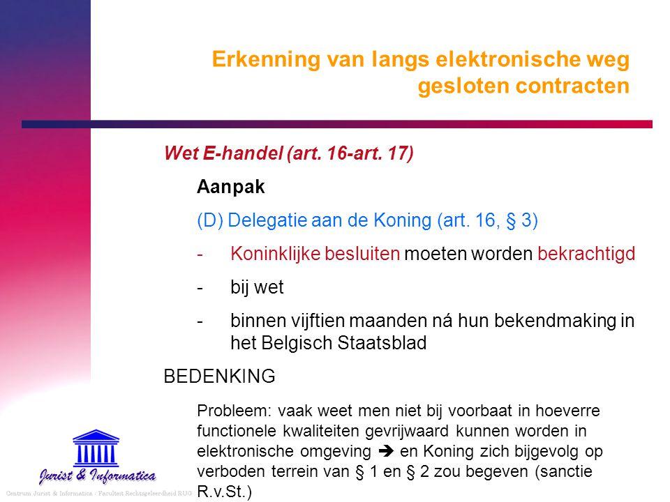 Erkenning van langs elektronische weg gesloten contracten Wet E-handel (art. 16-art. 17) Aanpak (D) Delegatie aan de Koning (art. 16, § 3) Koninklijk
