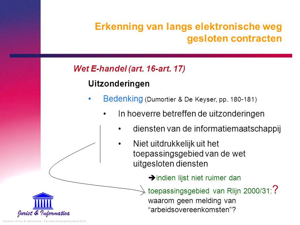 Erkenning van langs elektronische weg gesloten contracten Wet E-handel (art. 16-art. 17) Uitzonderingen Bedenking (Dumortier & De Keyser, pp. 180-181)