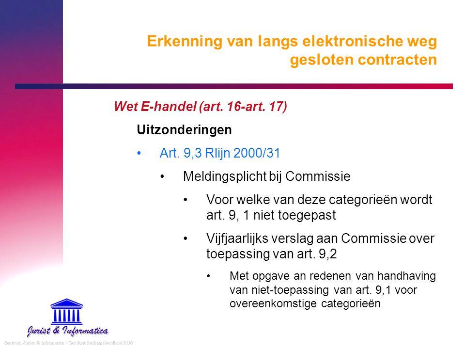 Erkenning van langs elektronische weg gesloten contracten Wet E-handel (art. 16-art. 17) Uitzonderingen Art. 9,3 Rlijn 2000/31 Meldingsplicht bij Comm