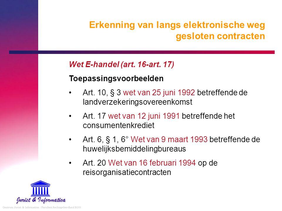 Erkenning van langs elektronische weg gesloten contracten Wet E-handel (art. 16-art. 17) Toepassingsvoorbeelden Art. 10, § 3 wet van 25 juni 1992 betr