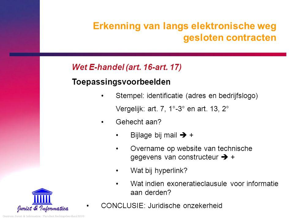 Erkenning van langs elektronische weg gesloten contracten Wet E-handel (art. 16-art. 17) Toepassingsvoorbeelden Stempel: identificatie (adres en bedri