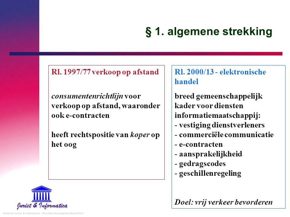 § 1. algemene strekking Rl. 1997/77 verkoop op afstand consumentenrichtlijn voor verkoop op afstand, waaronder ook e-contracten heeft rechtspositie va