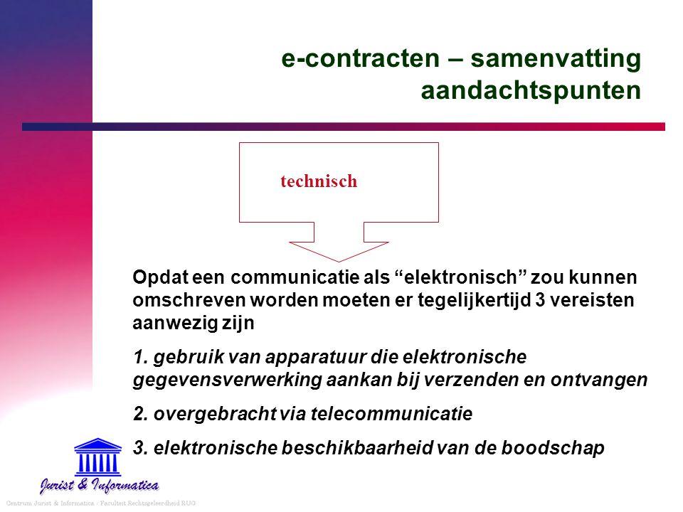 """e-contracten – samenvatting aandachtspunten Opdat een communicatie als """"elektronisch"""" zou kunnen omschreven worden moeten er tegelijkertijd 3 vereiste"""