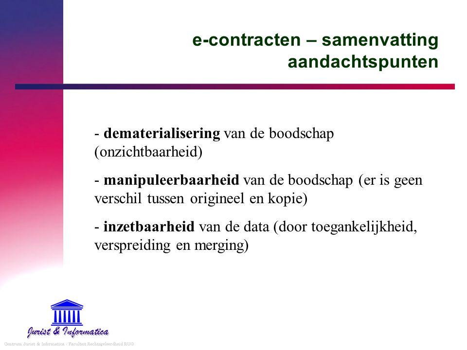 e-contracten – samenvatting aandachtspunten - dematerialisering van de boodschap (onzichtbaarheid) - manipuleerbaarheid van de boodschap (er is geen v