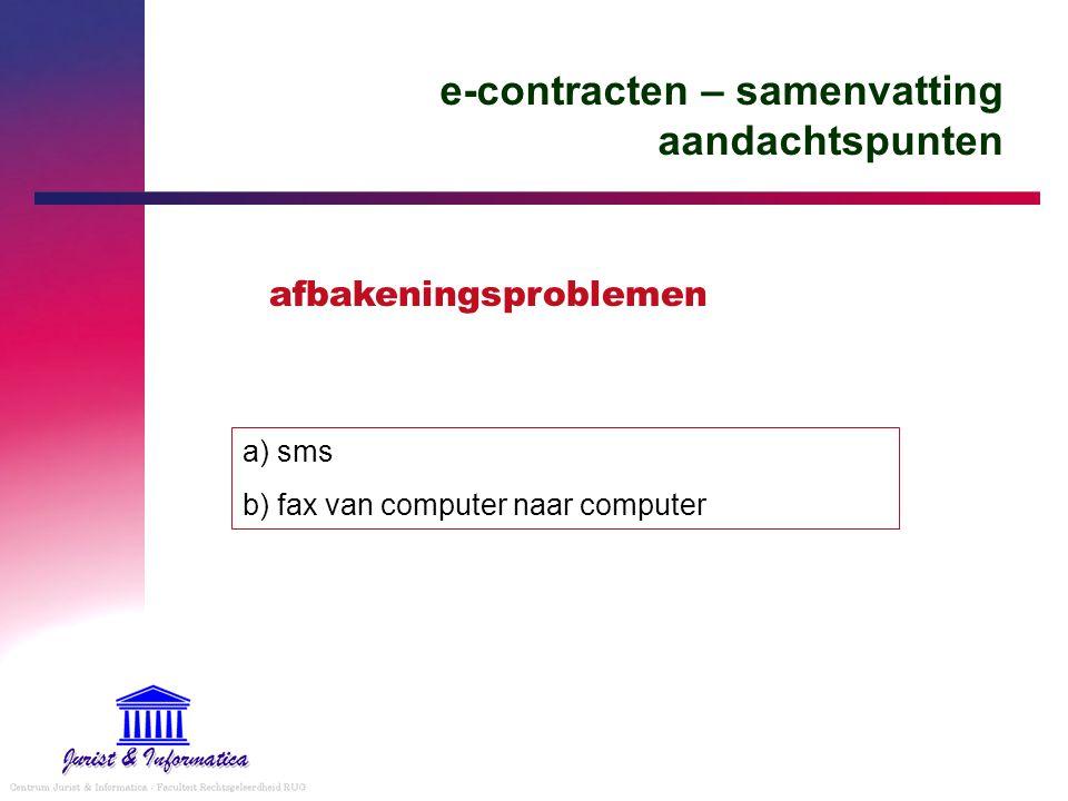 e-contracten – samenvatting aandachtspunten a) sms b) fax van computer naar computer afbakeningsproblemen