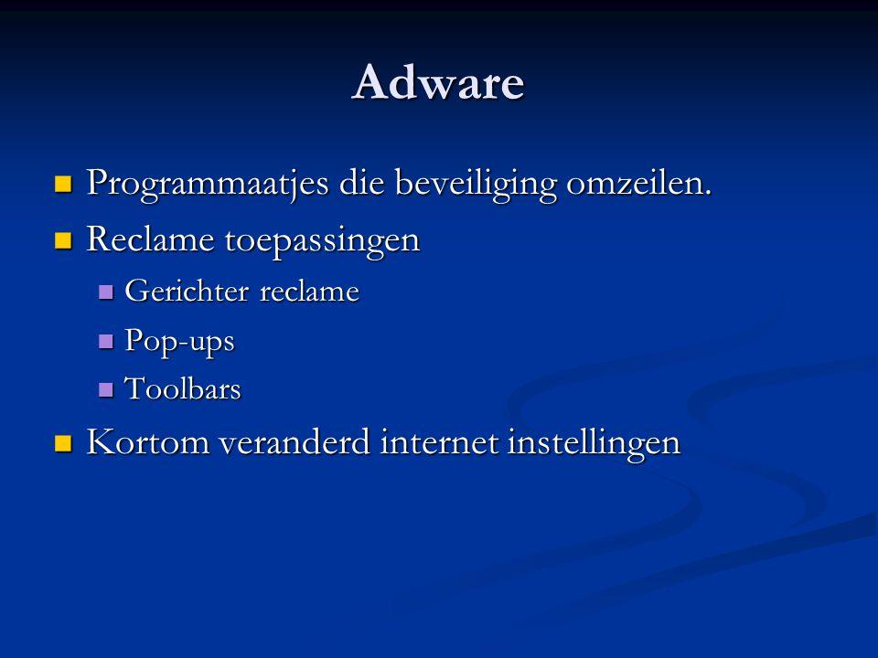 Adware Programmaatjes die beveiliging omzeilen. Programmaatjes die beveiliging omzeilen.