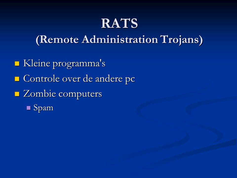 RATS (Remote Administration Trojans) Kleine programma s Kleine programma s Controle over de andere pc Controle over de andere pc Zombie computers Zombie computers Spam Spam