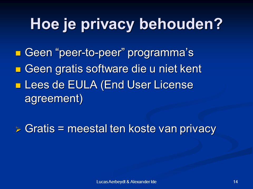 14Lucas Aerbeydt & Alexander Ide Hoe je privacy behouden.