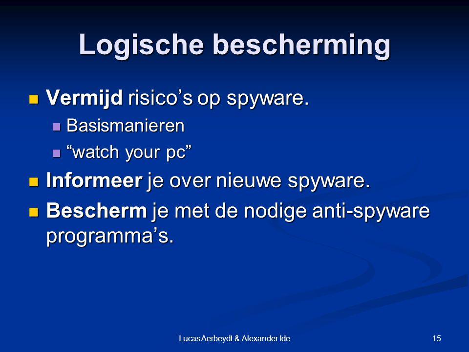 15Lucas Aerbeydt & Alexander Ide Logische bescherming Vermijd risico's op spyware.